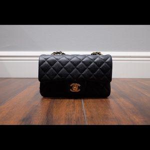Chanel Black Caviar Mini Rectangular CF Flap GHW